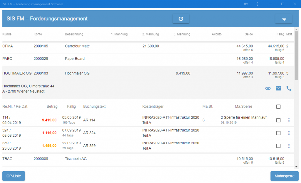 SIS-FM Forderungsmanagement Software Screenshot