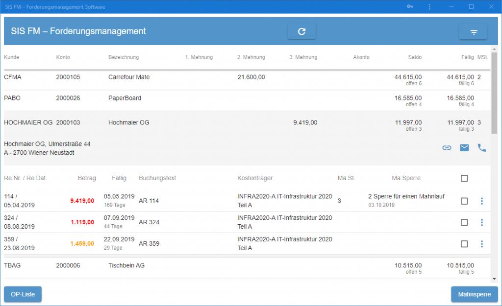 SIS-FM Forderungsmanagement Software Screenshot